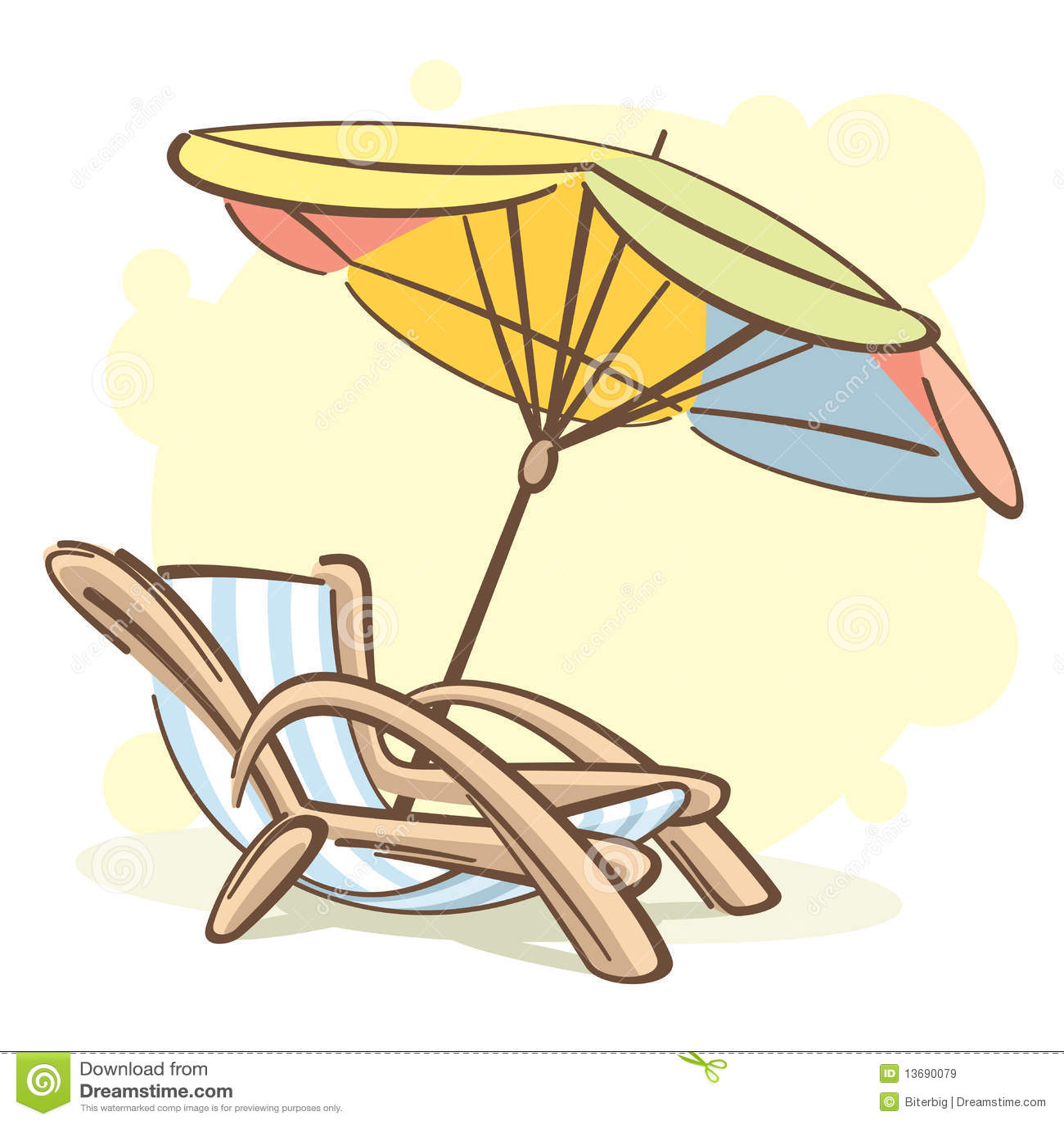 Chaise longue et parasol images libres de droits image 13690079 - Dessin parasol ...