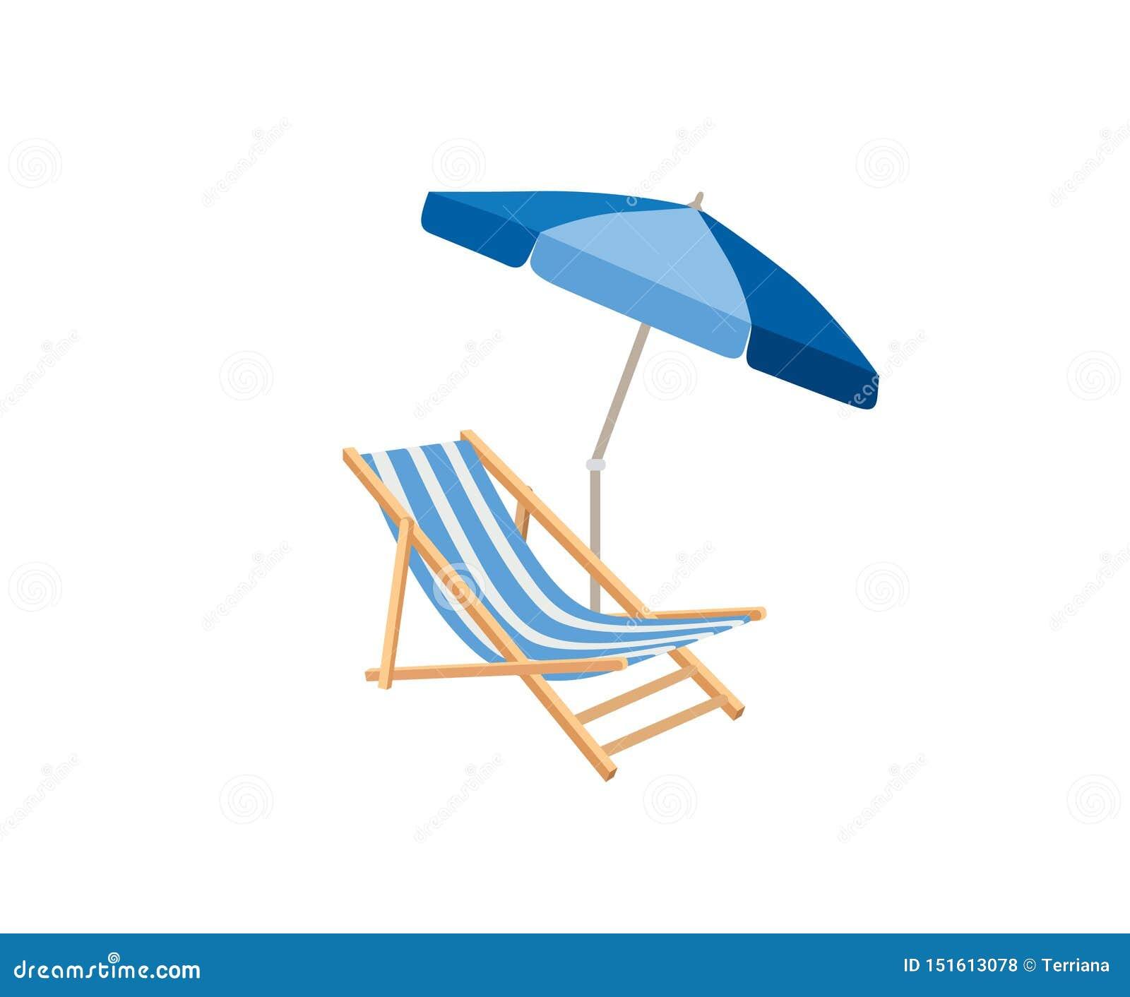 Chaise Longue Parasol Symbole De Station Balneaire D Ete De