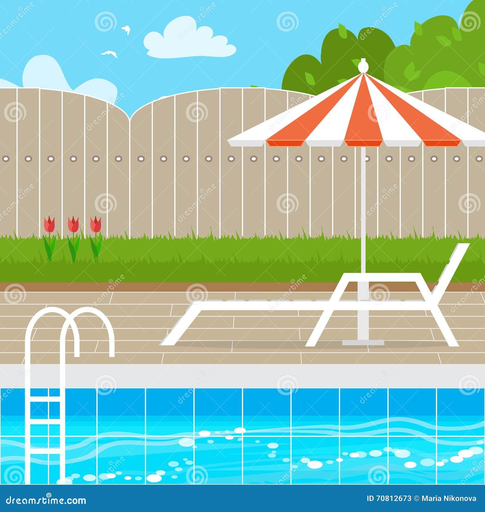 Chaise Lounge con el paraguas del parasol cerca de la piscina
