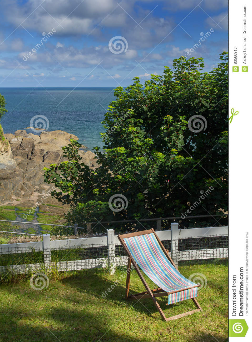 Chaise Lounge On The Green Lawn. Excellent View Of The Bay Of Combe on chaise sofa sleeper, chaise furniture, chaise recliner chair,