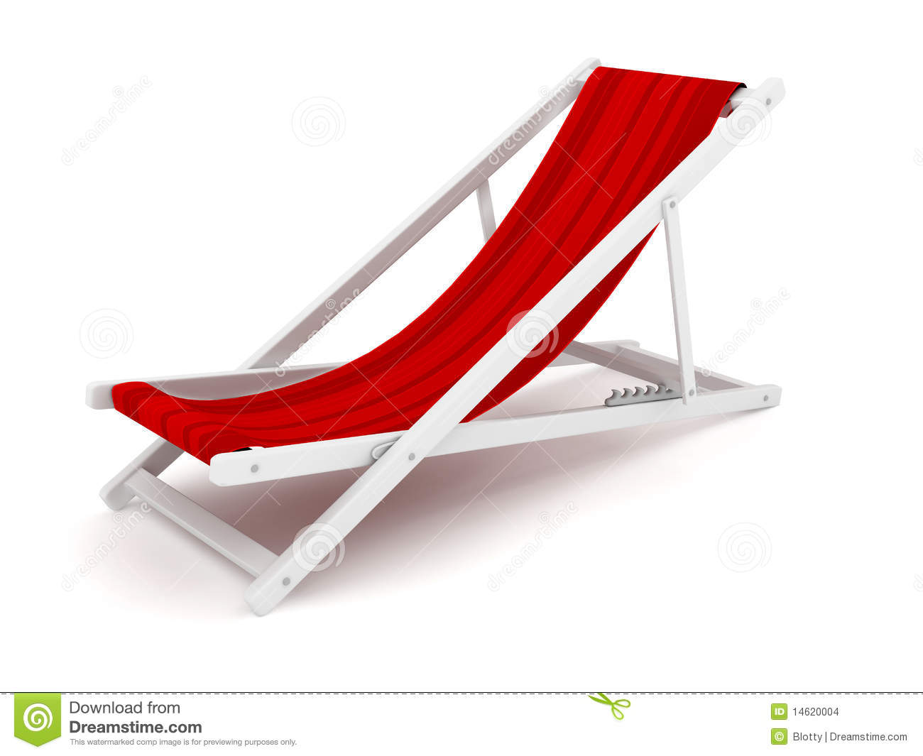 Chaise Lounge Over White Stock Image