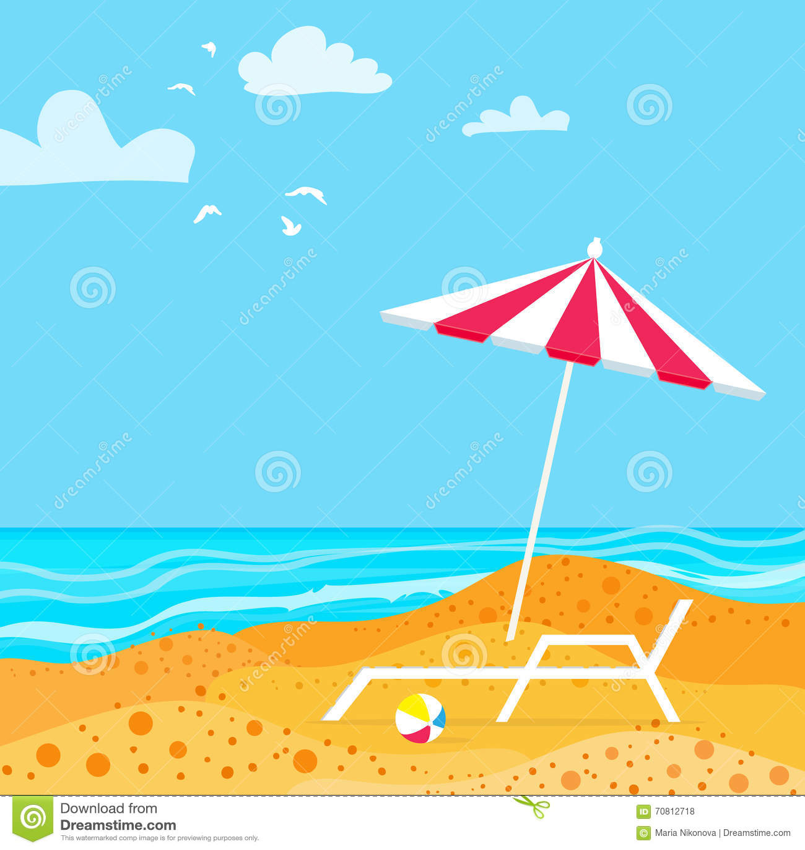 Chaise Lounge With Parasol Umbrella Ocean Summer Resort