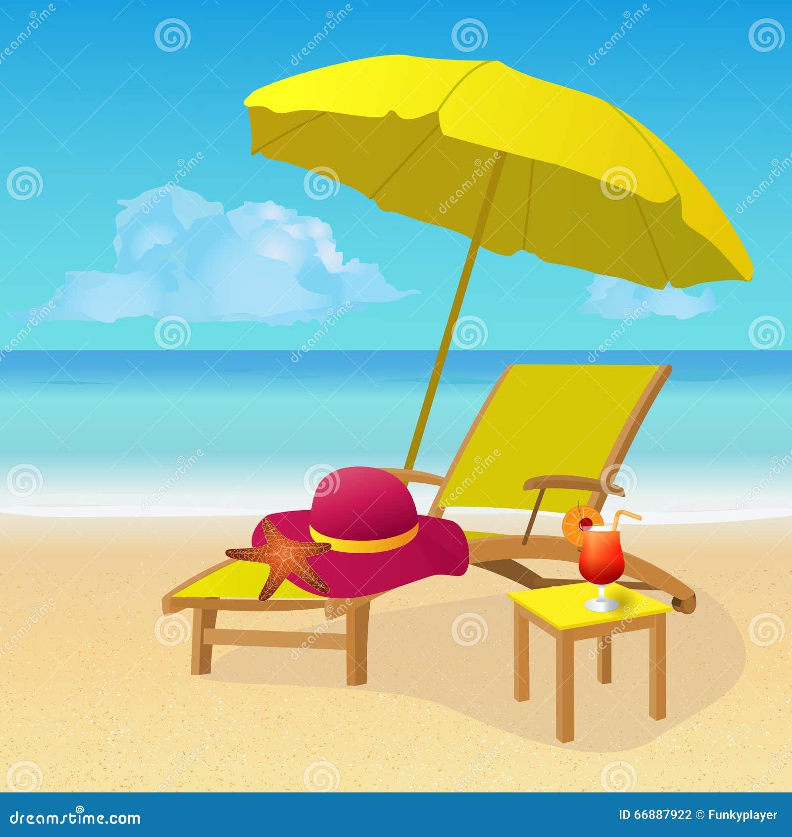 Chaise Lounge With Umbrella On Idyllic Tropical Sandy Beach