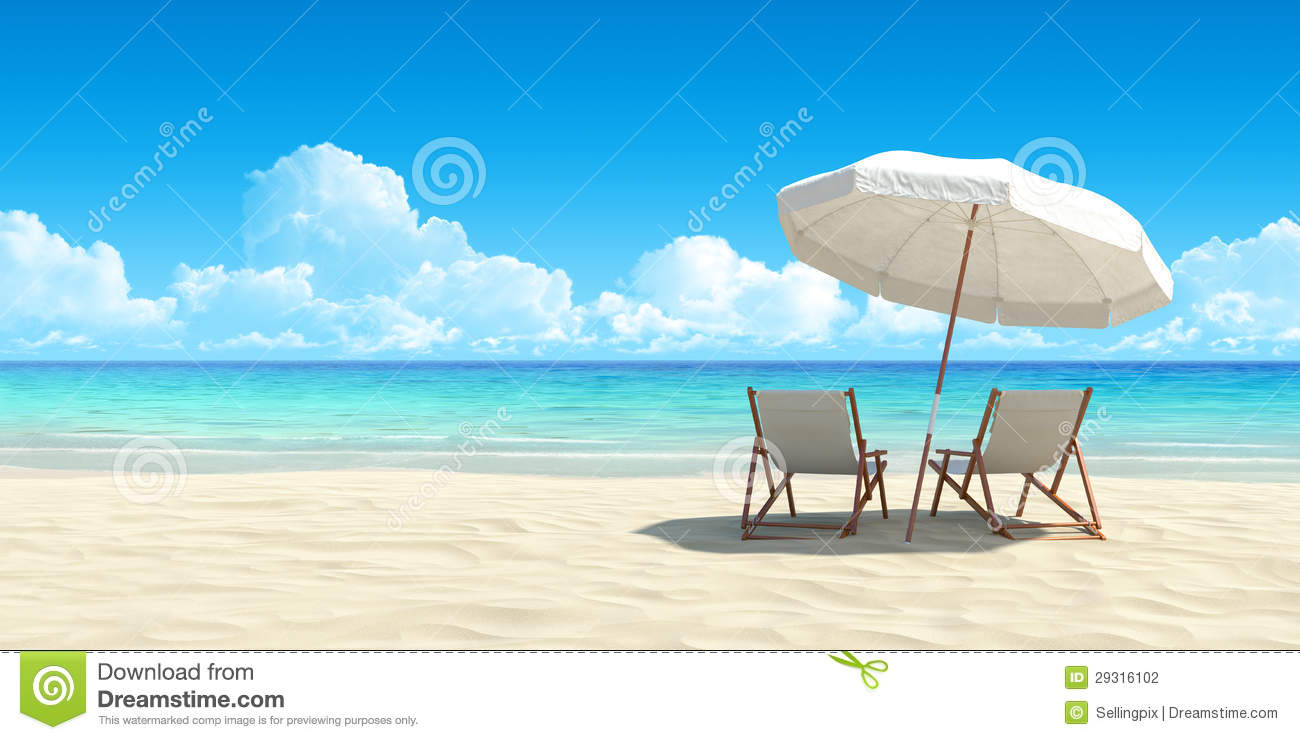 Chaise lounge and umbrella on sand beach stock for Chaise lounge beach