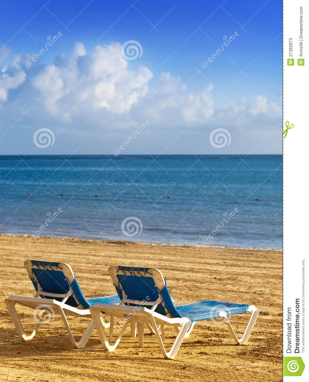 Chaise lounges on a beach landscape stock photos image for Beach chaise longue