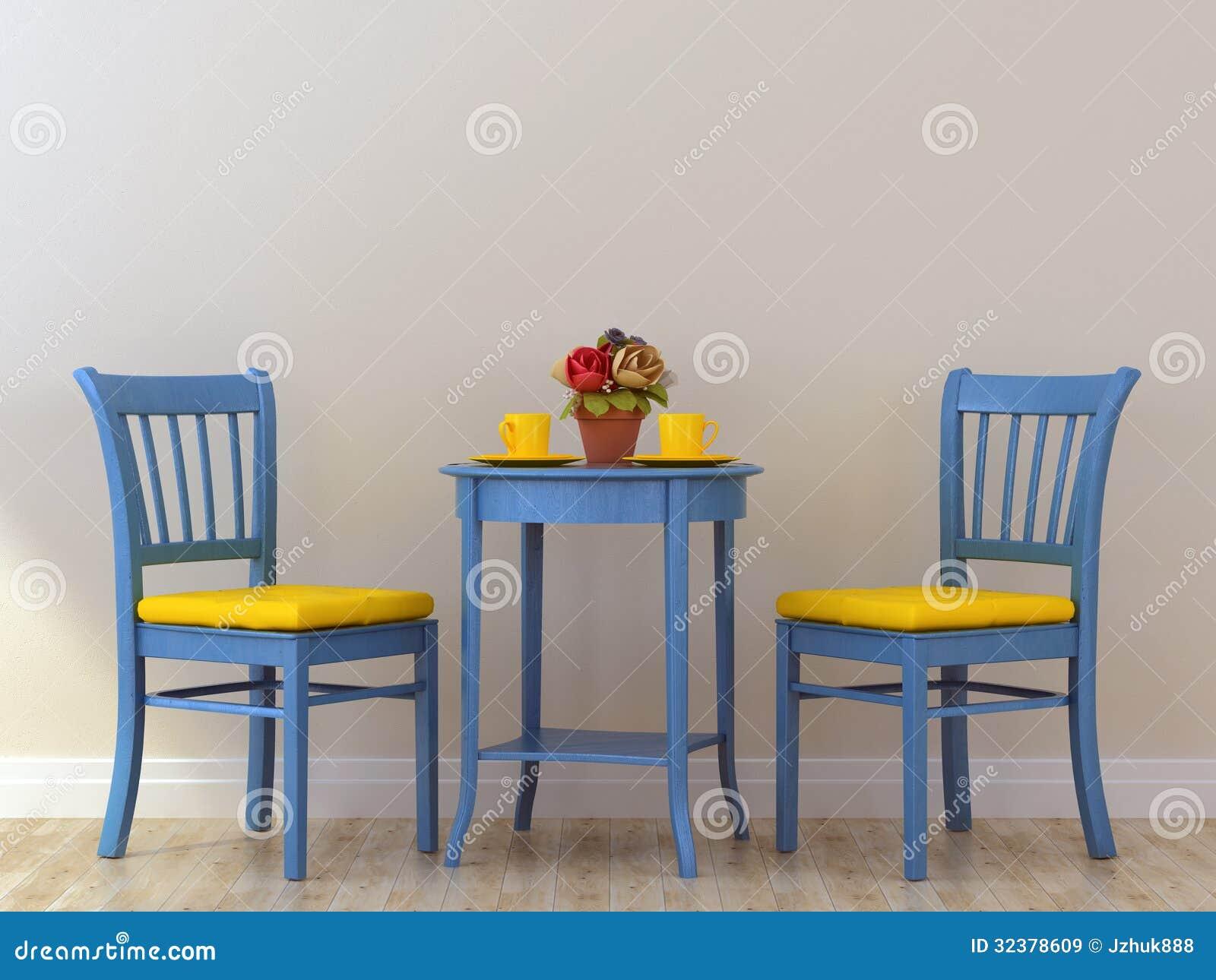 chaises bleues avec la table images libres de droits. Black Bedroom Furniture Sets. Home Design Ideas