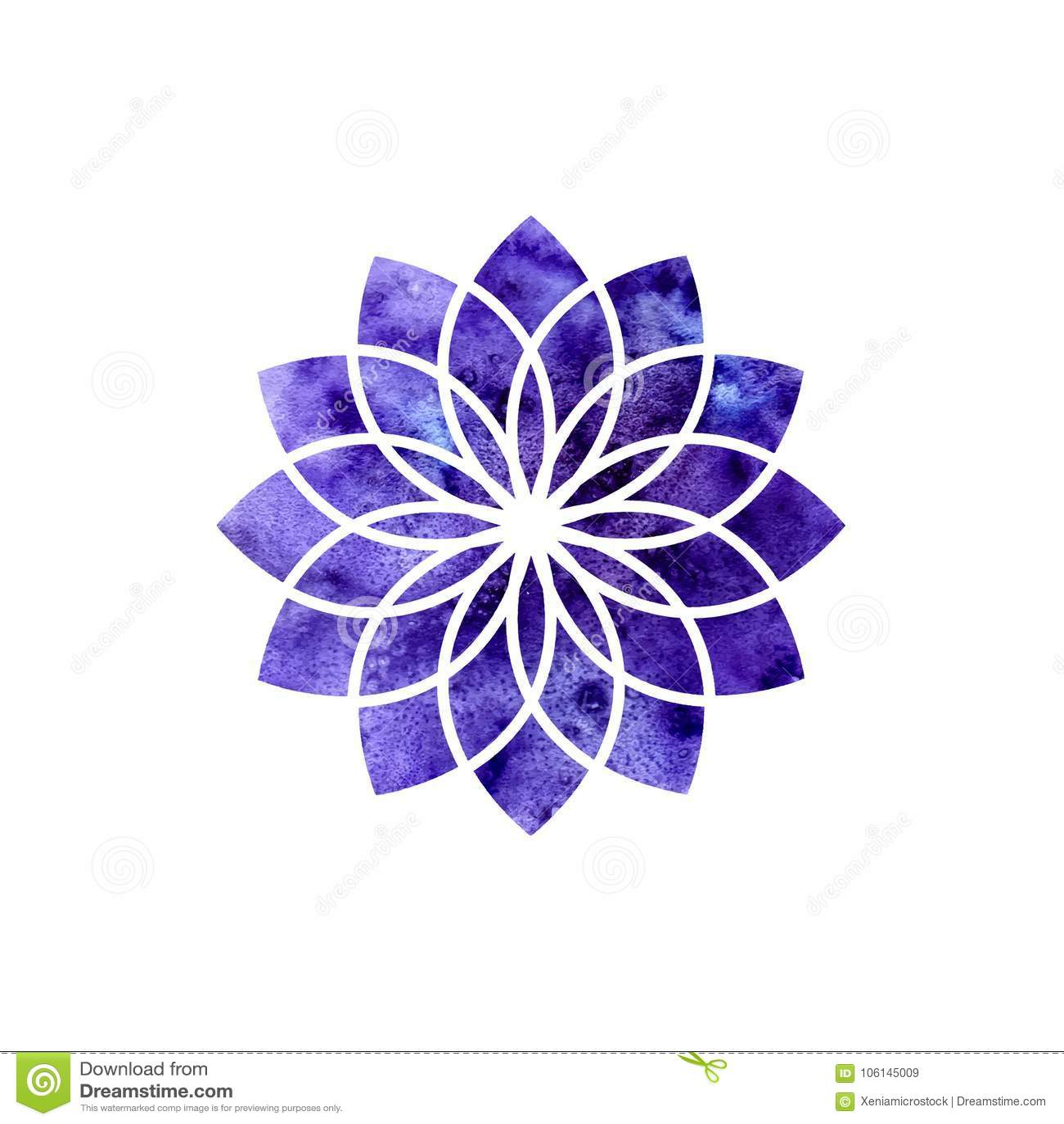 Chakra de Sahasrara Geometria sagrado Um dos centros de energia no corpo humano O objeto para o projeto pretendido para a ioga