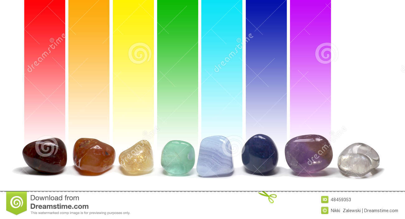 ... white background with the corresponding chakra color above each stone
