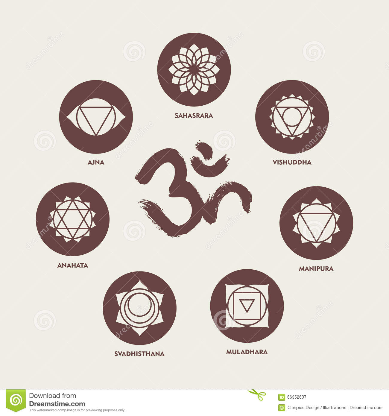 Chakra Icon Set Elements And Om Calligraphy Stock Vector