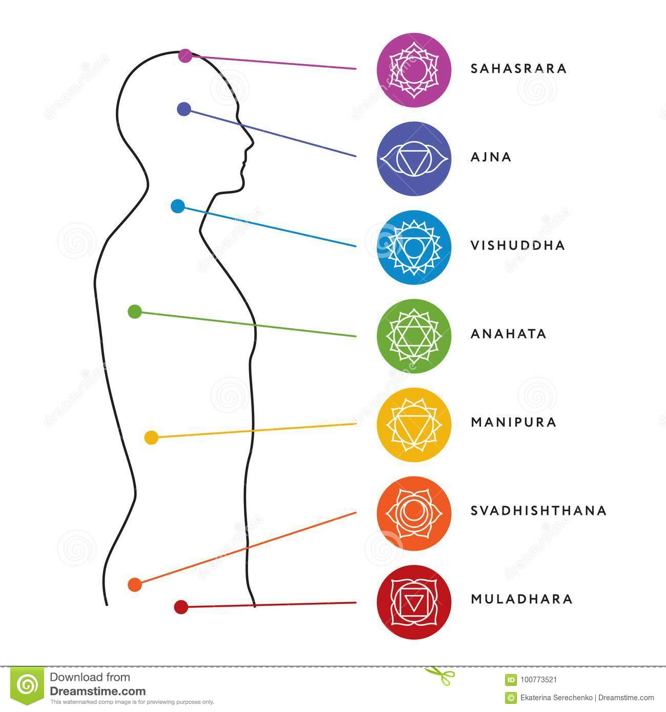 Chakra System Of Human Body Energy Centers Stock Vector