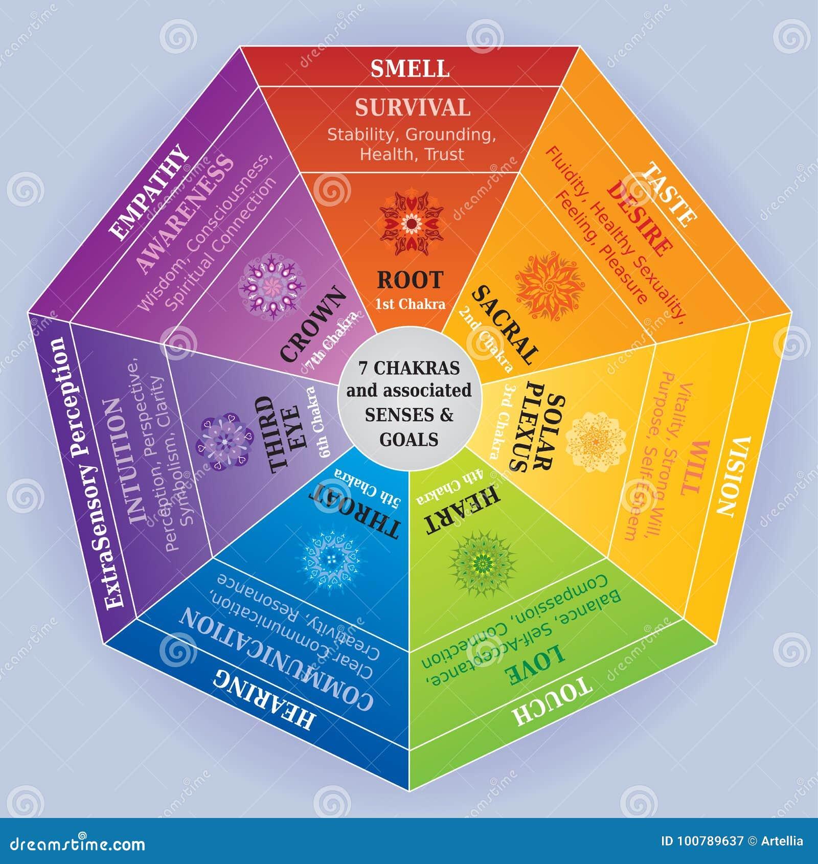 20 Chakras Color Chart With Mandalas, Senses And Associated ...
