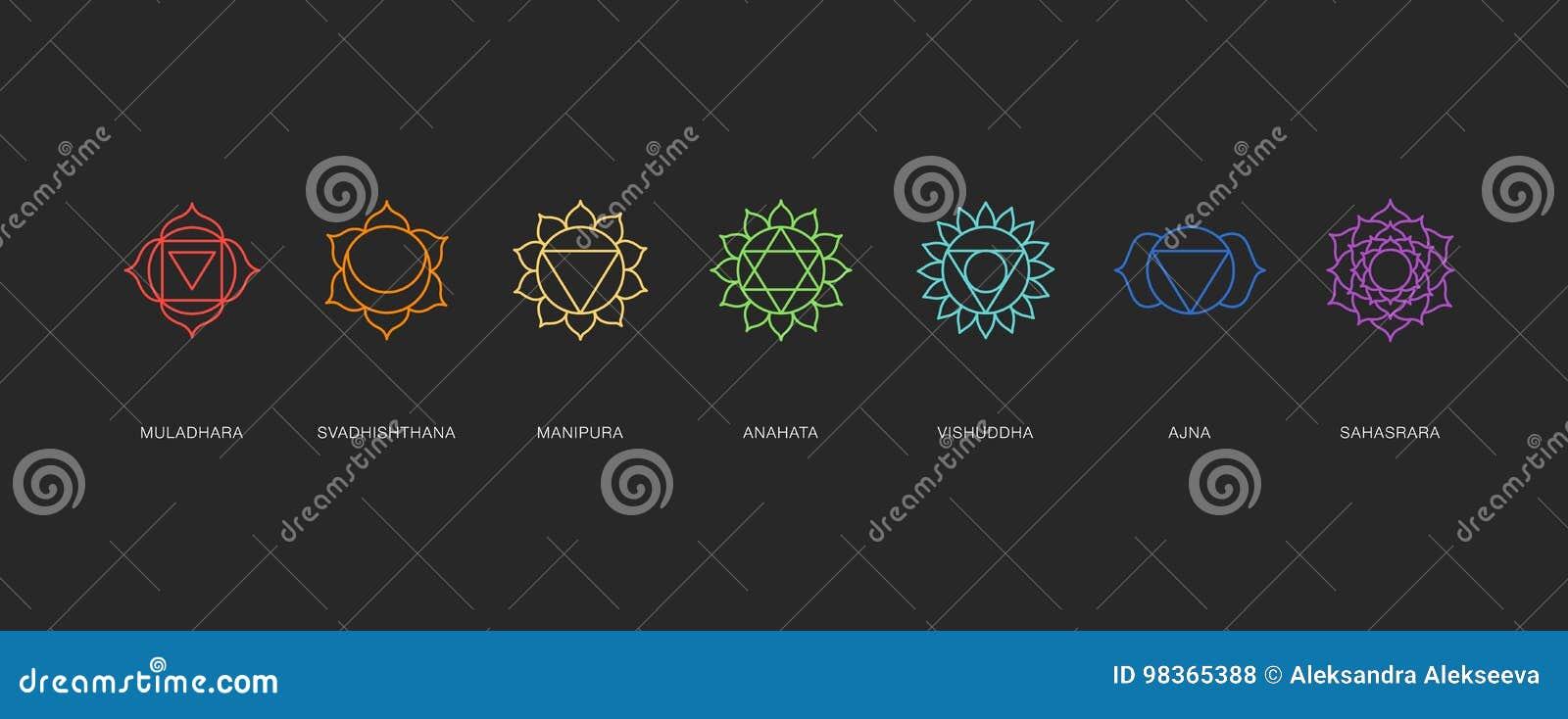 Chakras Energy Healing Sacred Geometry Vector Stock Vector