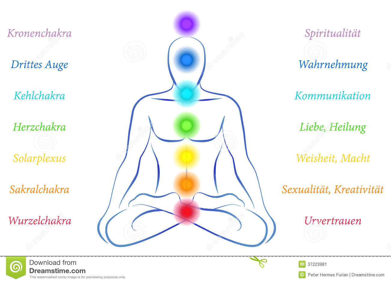 with the seven main chakras and their meanings german labeling