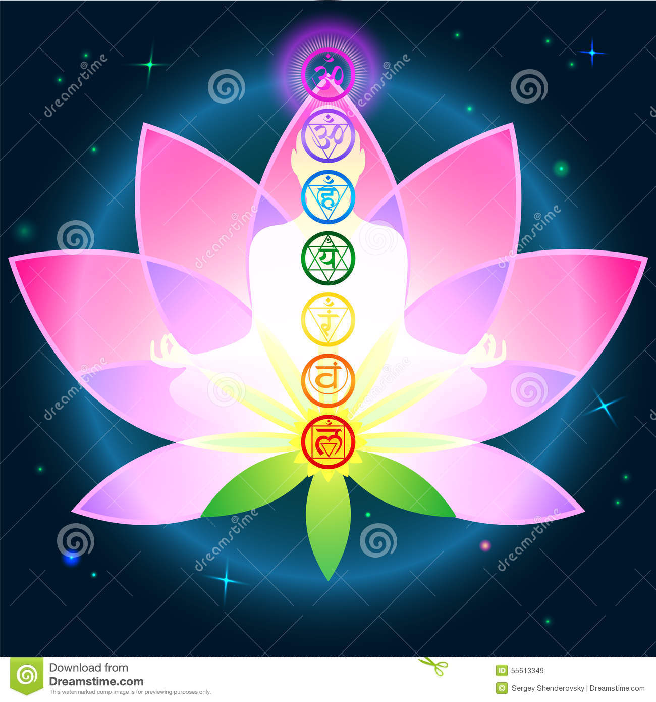 Stylish image symbol chakra man on a dark background in the Lotus.