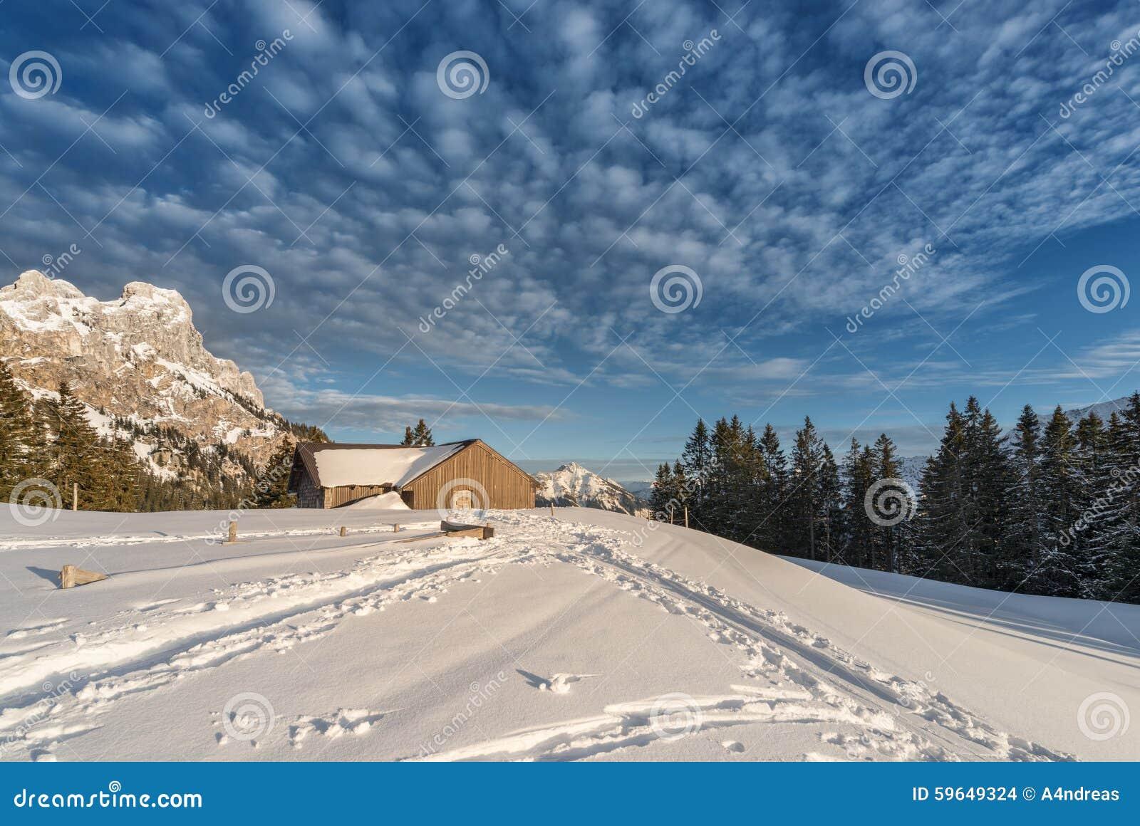 Chalet avec la neige sur la montagne autrichienne photo for Chalet a la montagne avec piscine