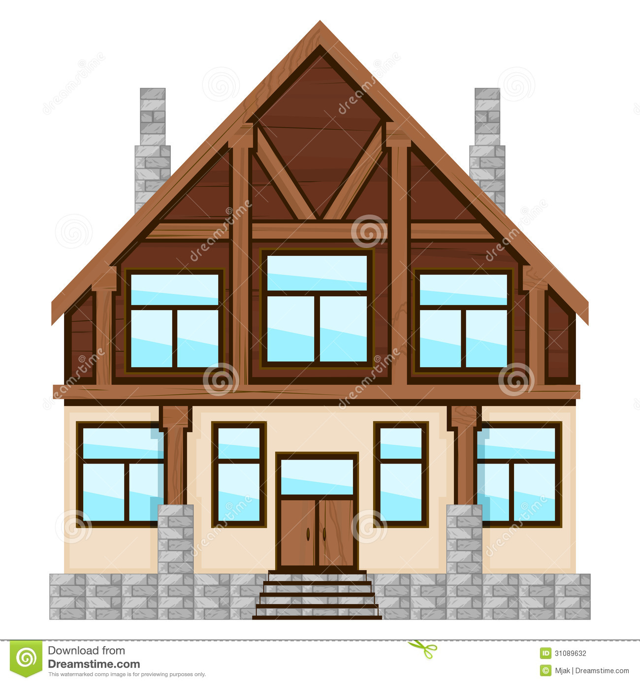 Big detailed icon of country house over white.