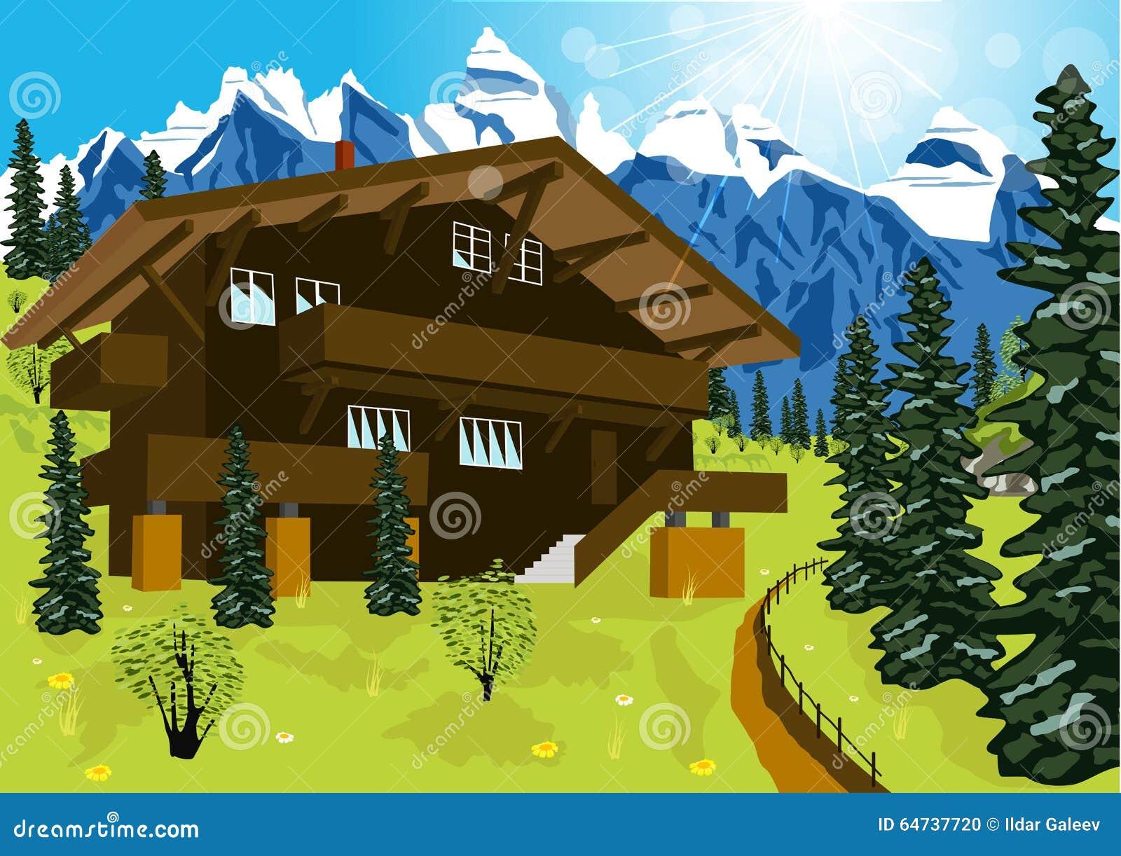 Chalet en bois dans des alpes de montagne au paysage rural for Disegni di chalet svizzeri