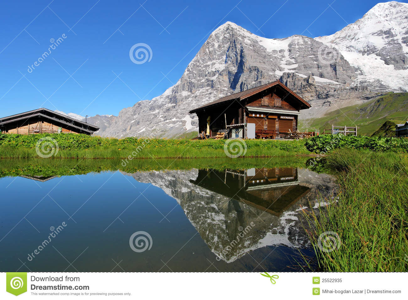 chalet et montagne d 39 eiger suisse photo libre de droits. Black Bedroom Furniture Sets. Home Design Ideas