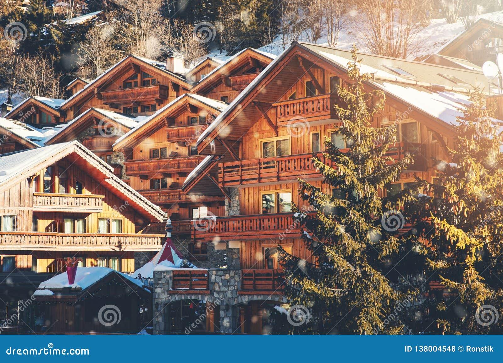 Chalets at Meribel ski resort in Alps, France