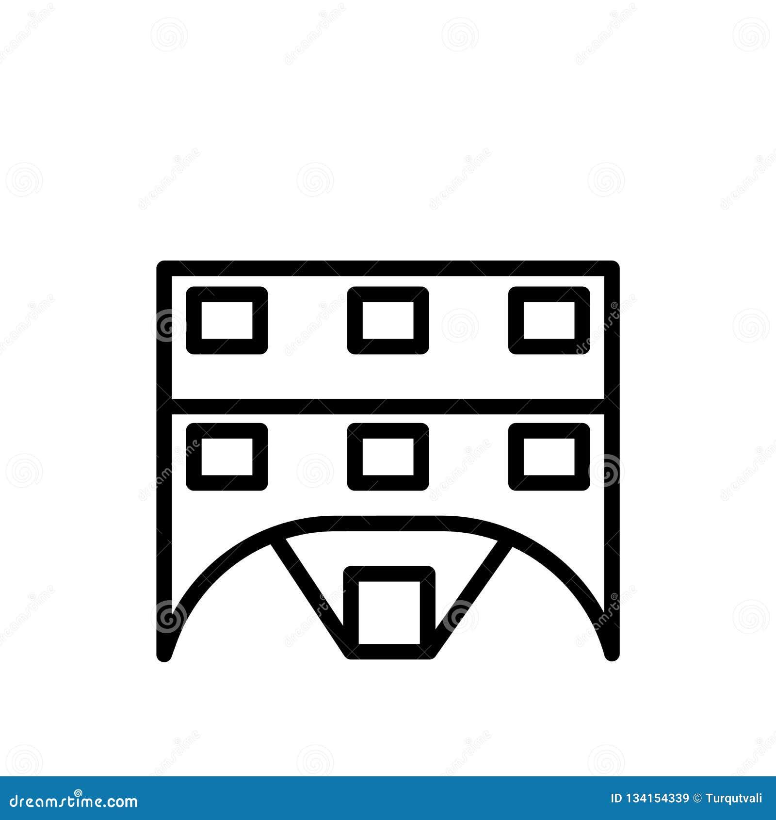 Chaletsymbolsvektor som isoleras på vit bakgrund, chalettecknet, linjen eller det linjära tecknet, beståndsdeldesign i översiktss