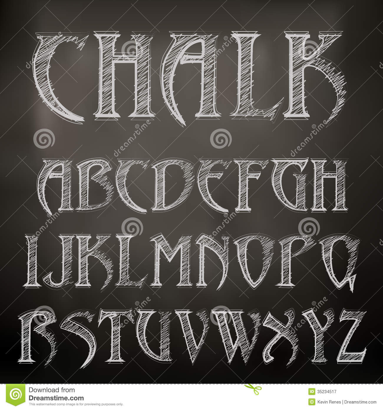 Chalk Alphabet Stock Vector Illustration Of Education