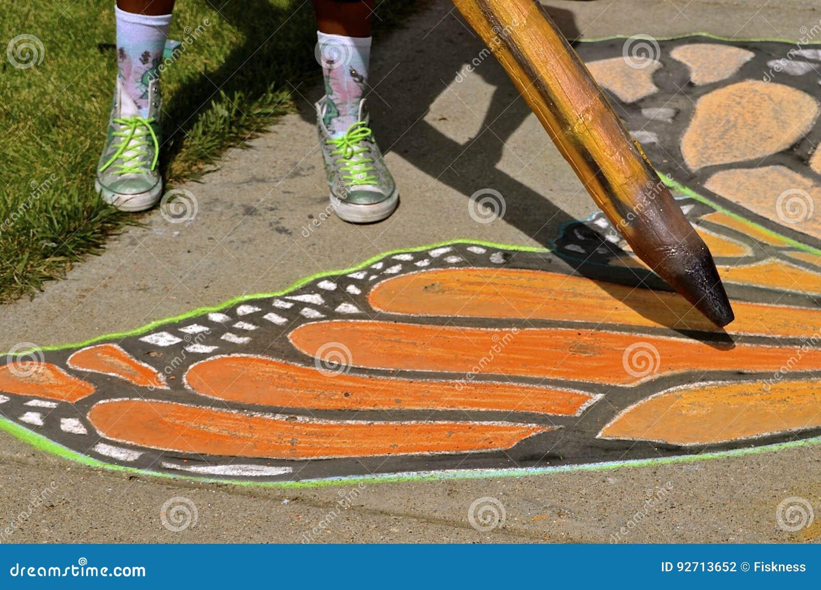 Chalk art of a butterfly wing