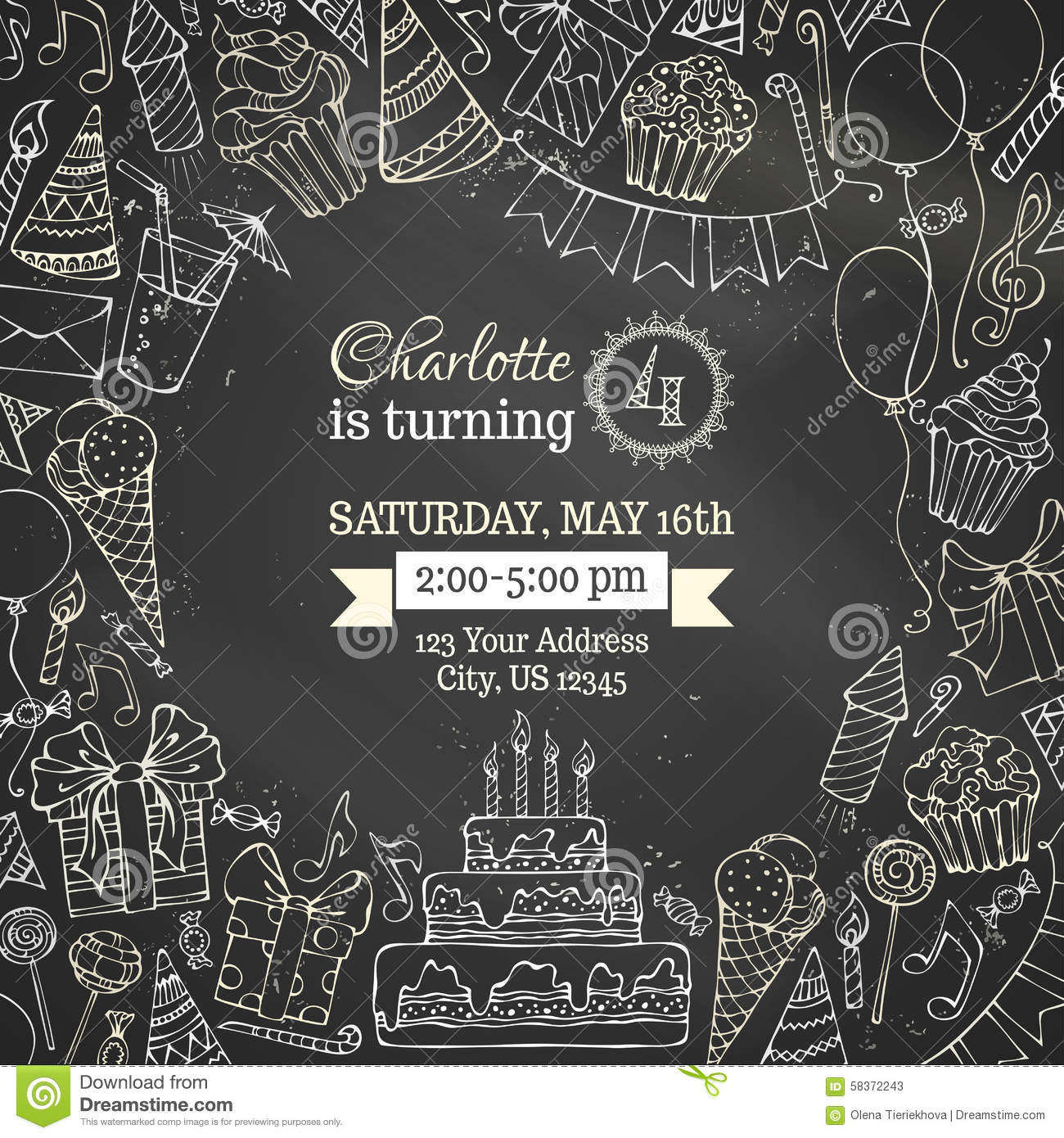 Chalk Birthday Invitation Blackboard Template Stock