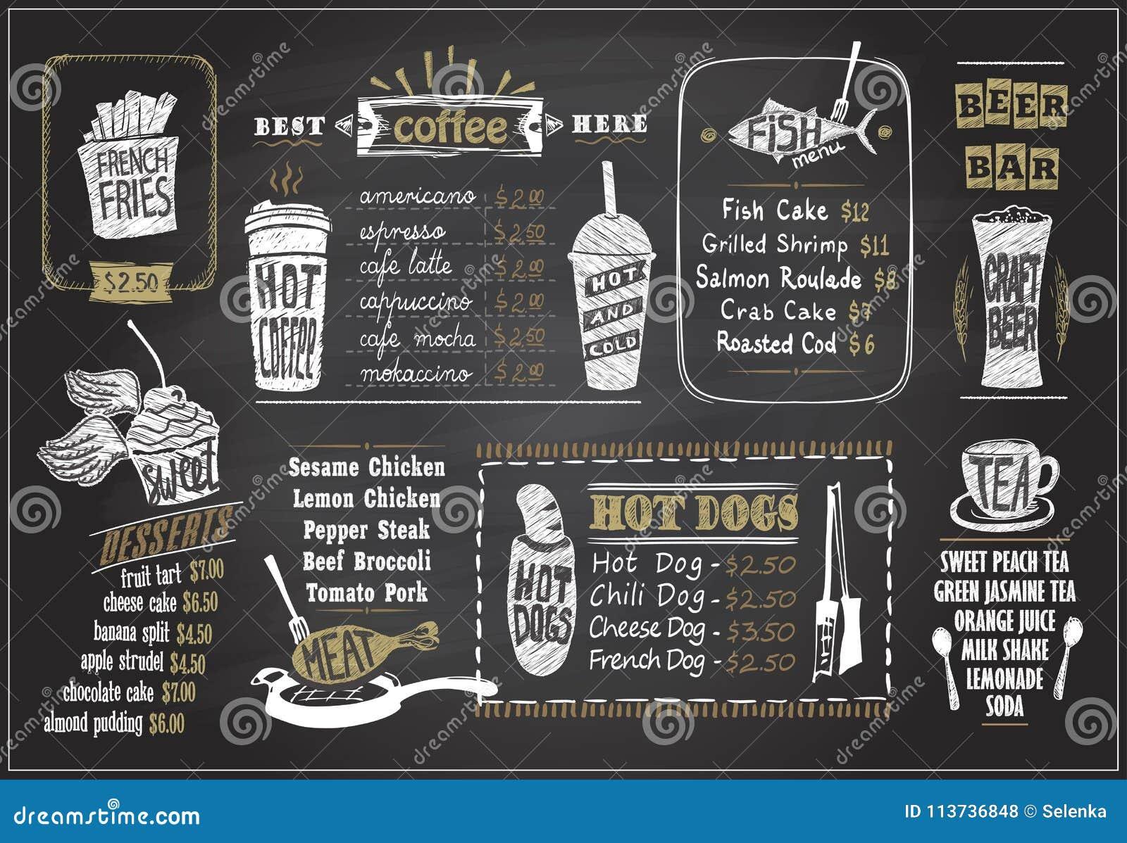 Home Design Ideas Blackboard: Chalk On A Blackboard Menu Designs Set