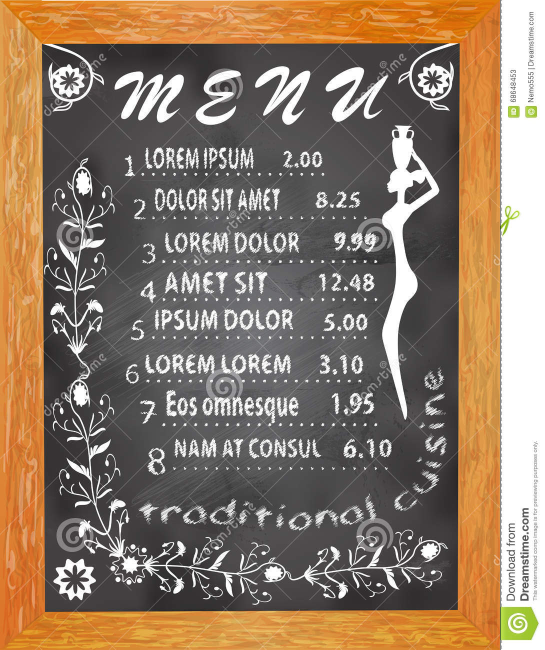 chalk board black with white lettering dishes and prices