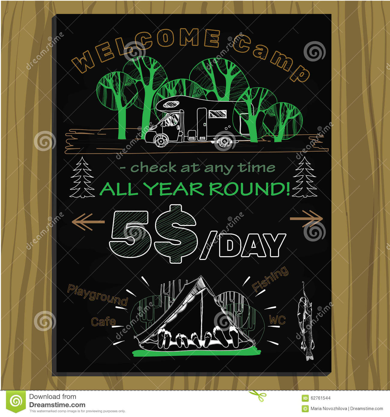 chalk board invitation for holiday in the camping stock vector
