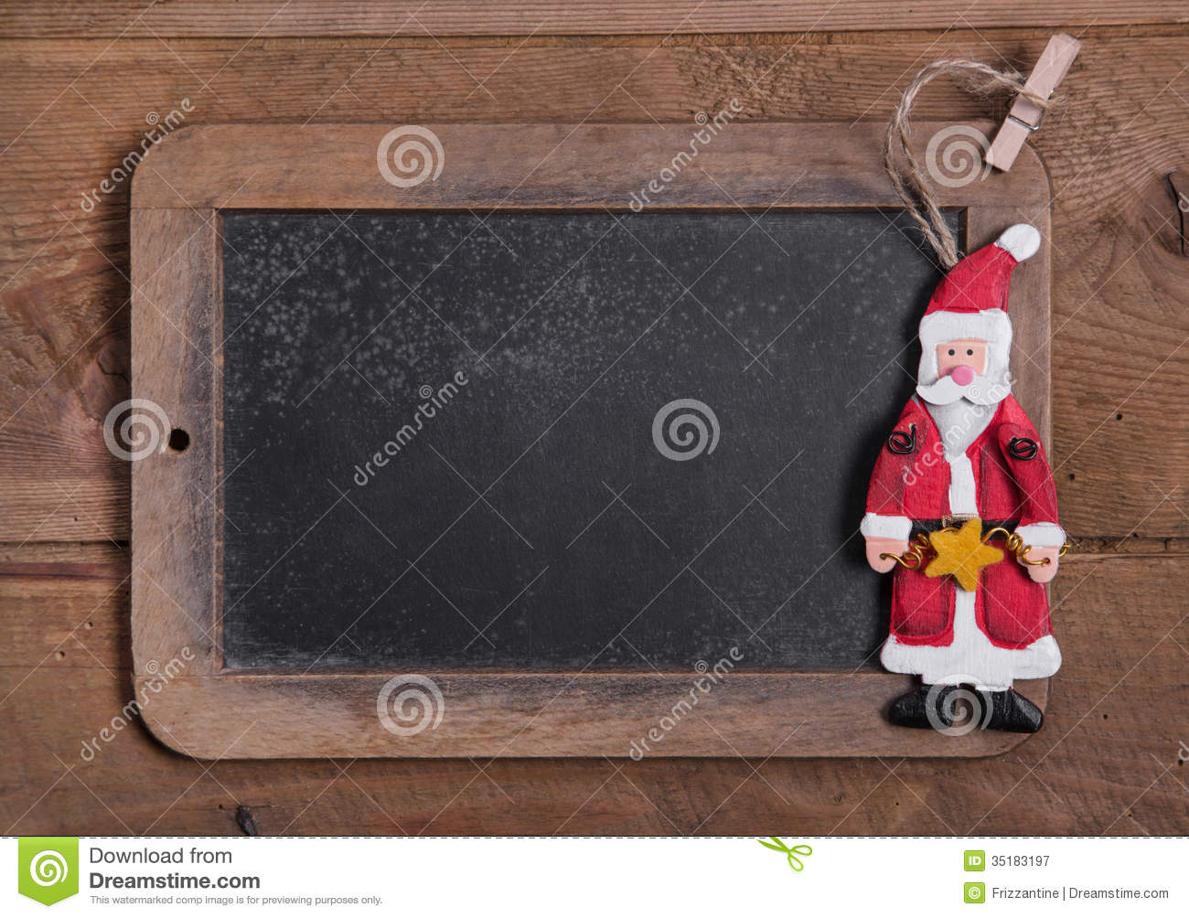 chalk board for merry christmas message   santa on wooden