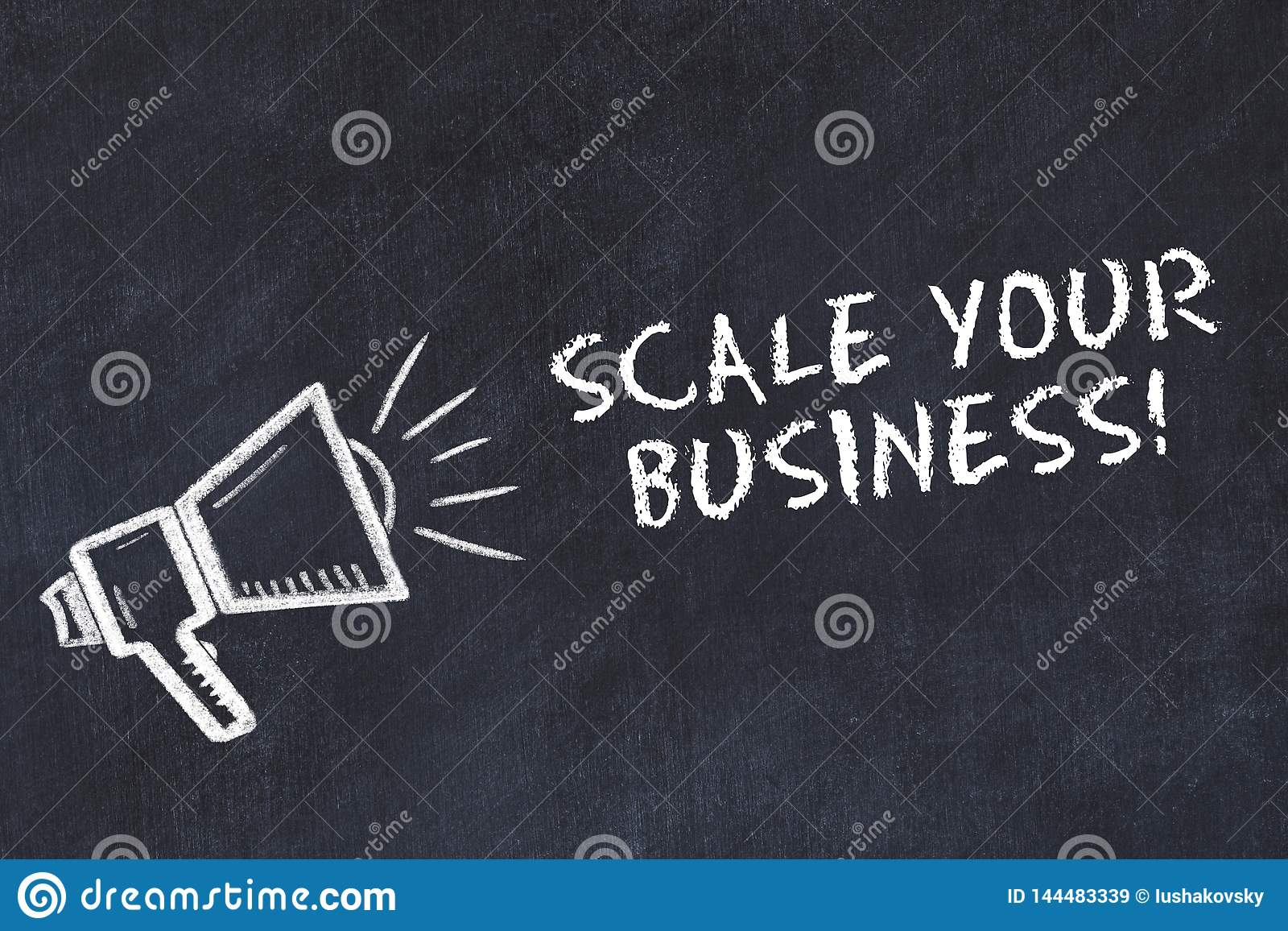 Chalk board sketch with loudspeaker and phrase scale your business