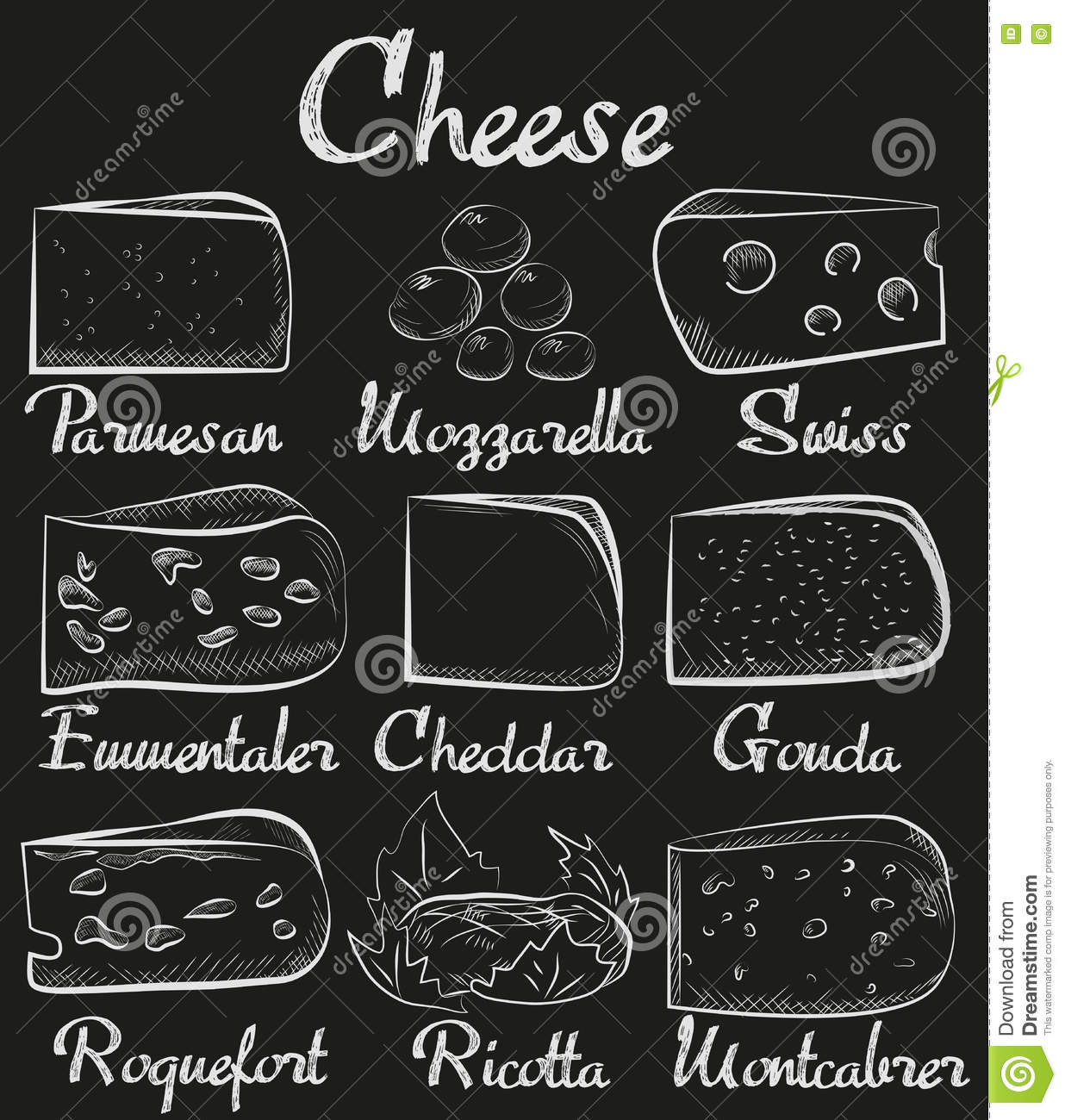 Chalk board sliced cut cheese assortment collection - Dessin sur tableau noir ...