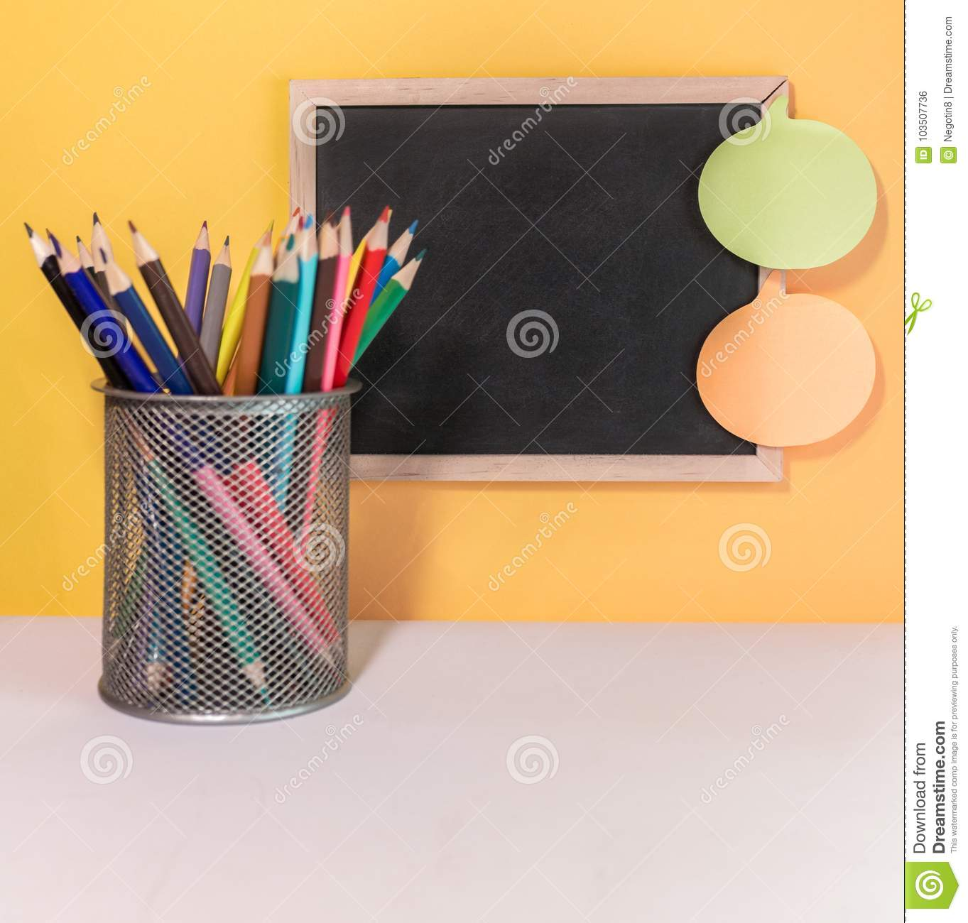 chalk board and sticky notes stock photo image of learn school