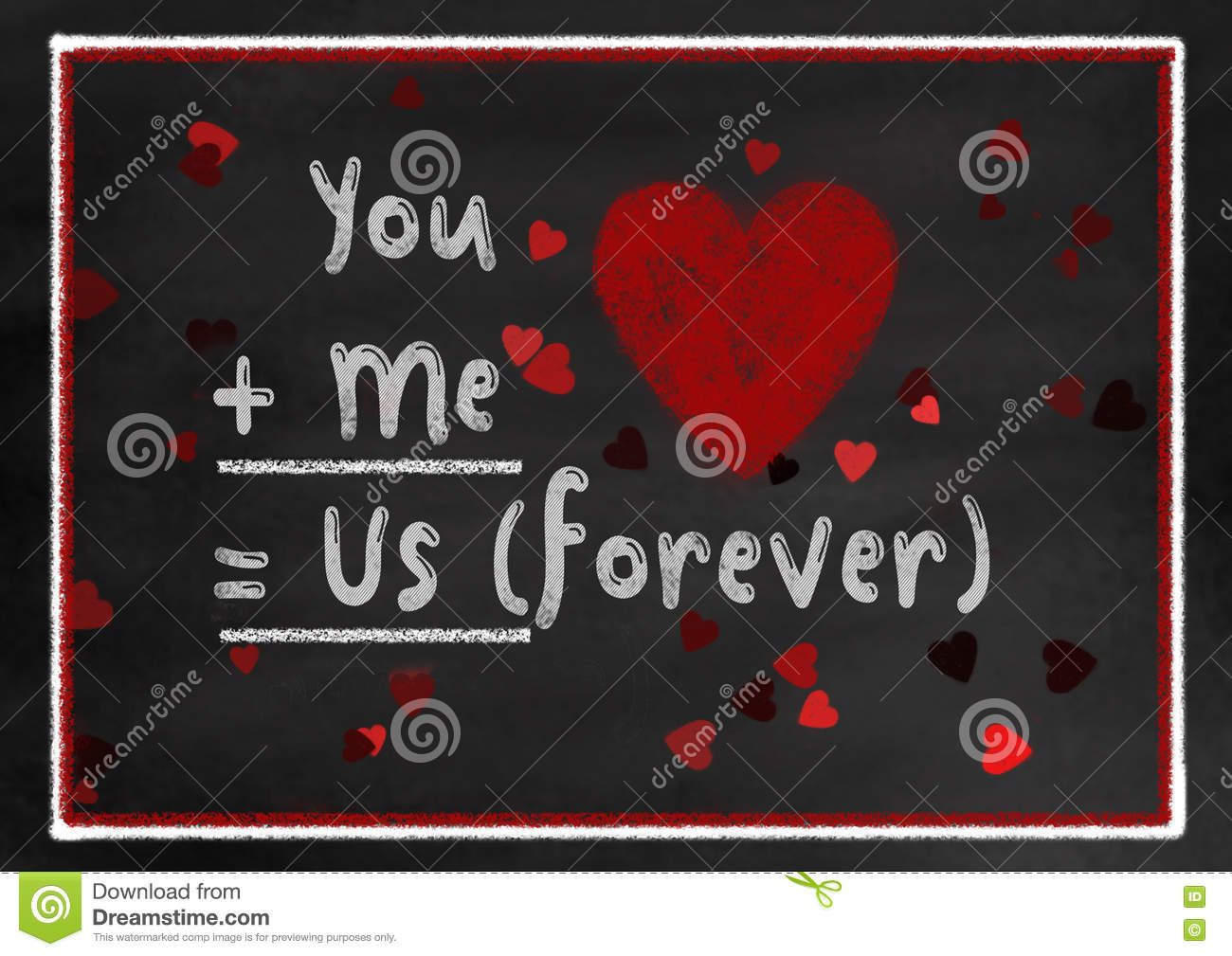 Chalk Board Style You And Me Valentine Card Stock Illustration ...