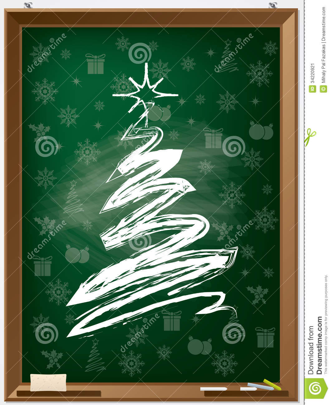 Chalk Christmas Tree On Chalkboard Stock Image - Image ...