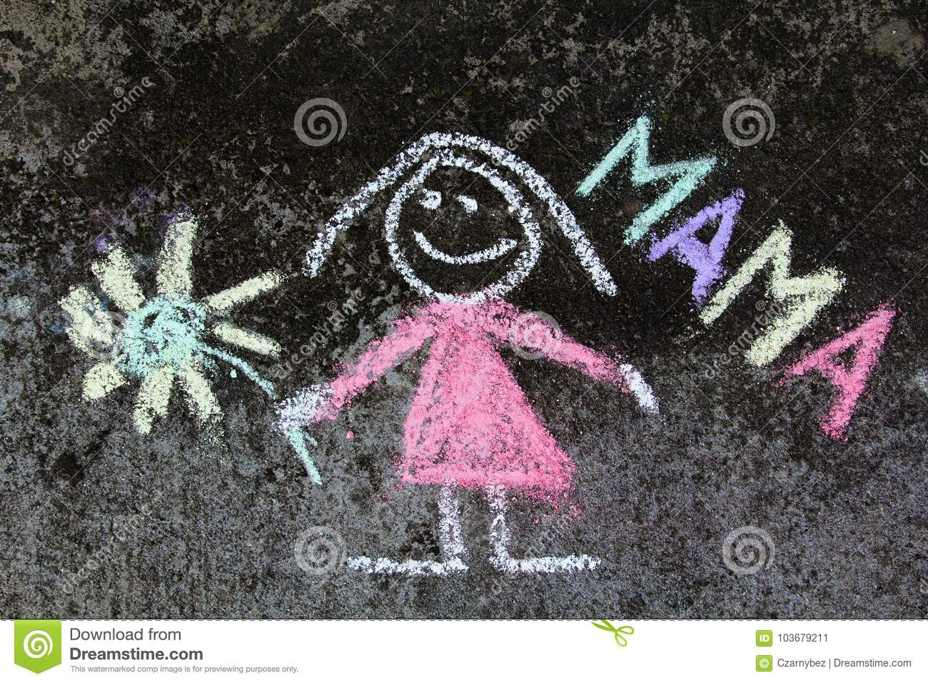 Chalk drawing: Cute mother portrait and word MAMA