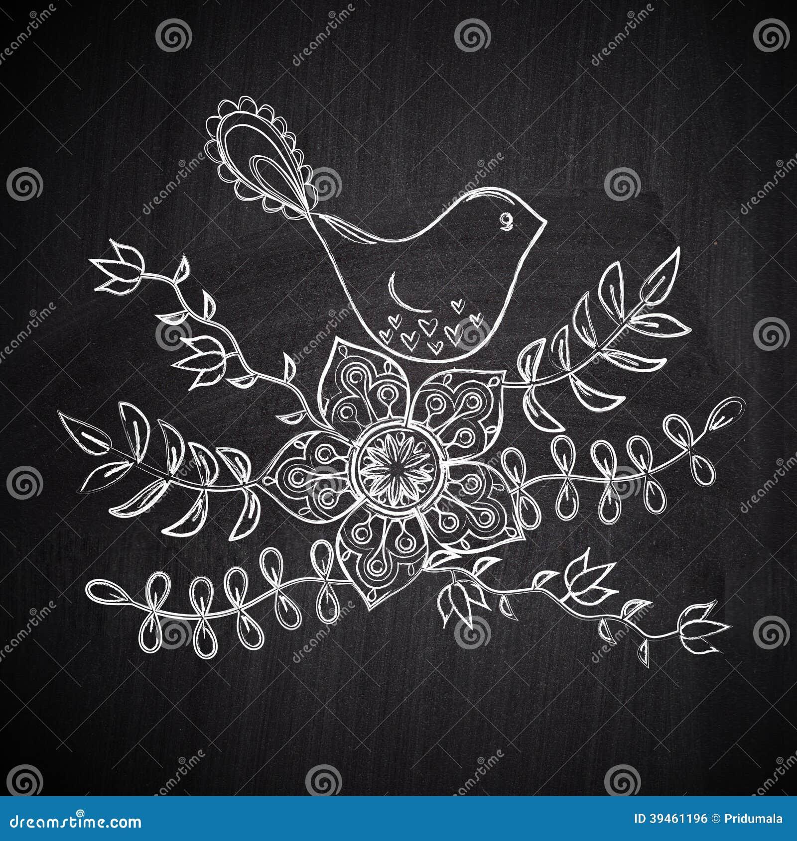 Chalk drawing greeting card with cute bird on chalkboard blackbo chalk drawing greeting card with cute bird on chalkboard blackbo background pendant kristyandbryce Gallery