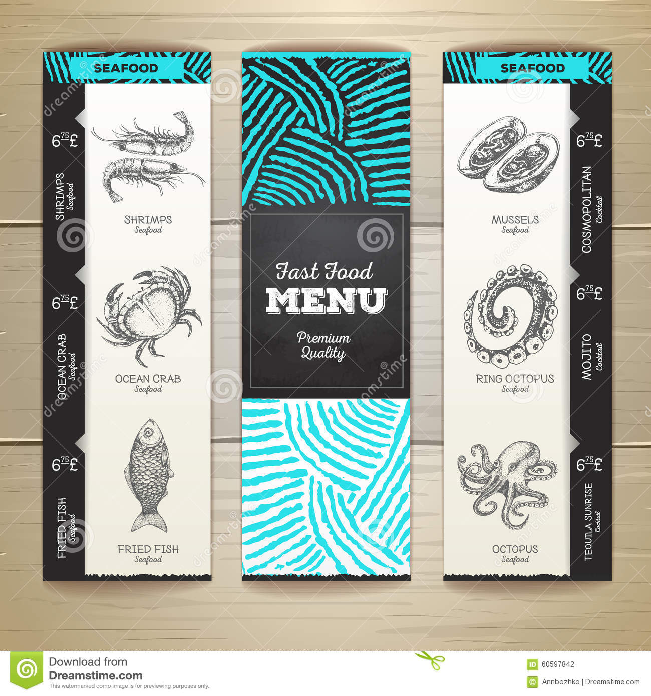 Chalk drawing seafood menu design stock vector image for Max fish menu
