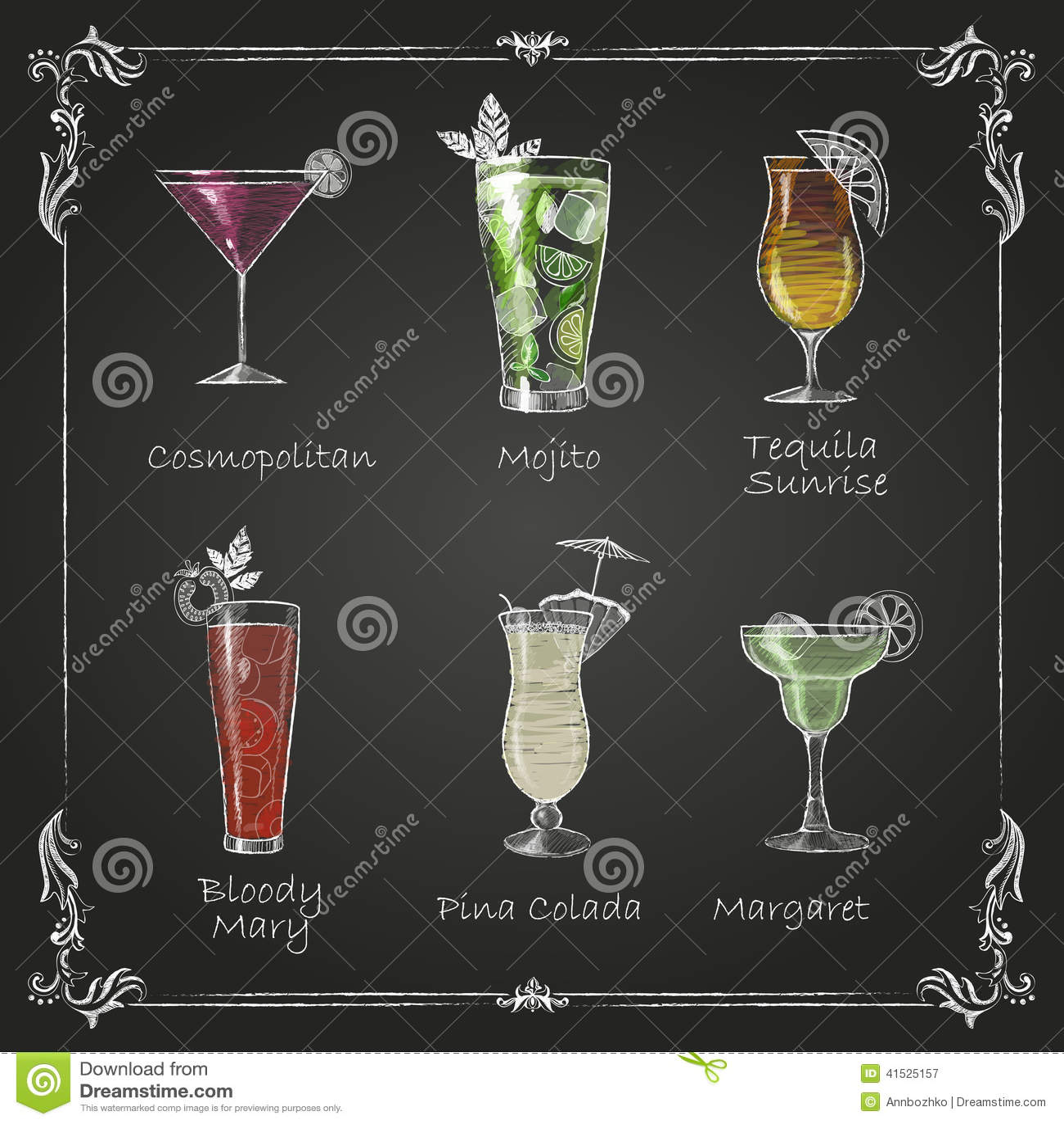 Chalk drawings. cocktail menu