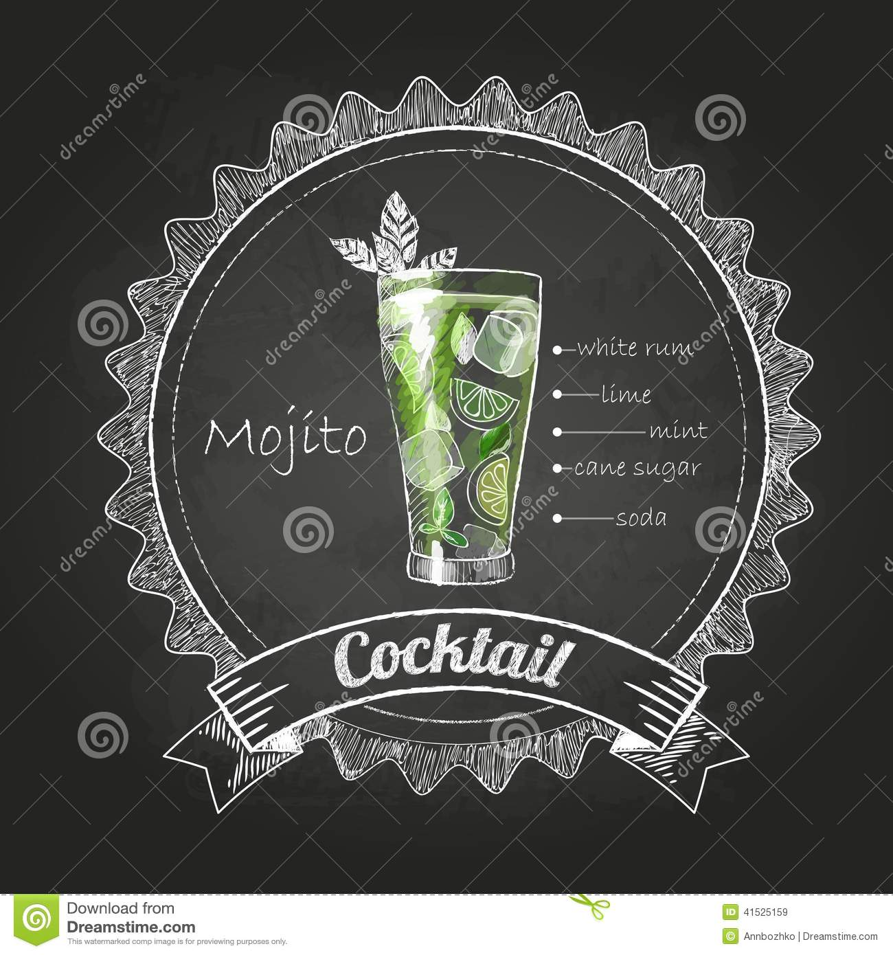 Chalk drawings. cocktail