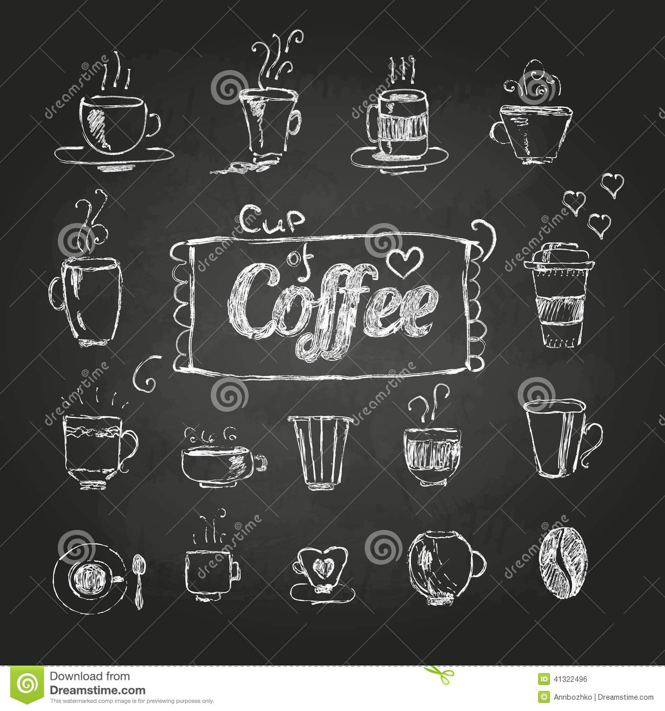 Chalk Drawings. Set Of Coffee Cups Stock Vector - Image: 41322496