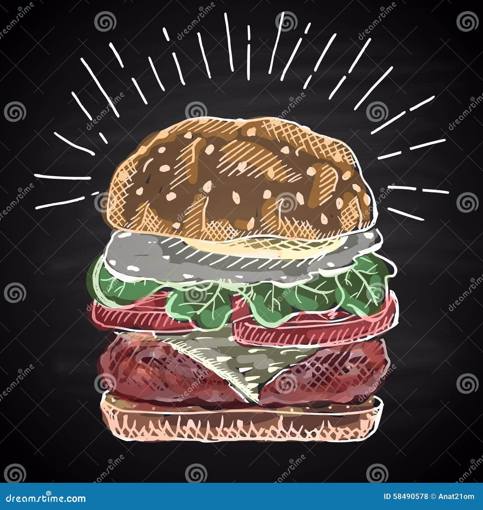 Chalk Drawn Colored Illustration Burger. Stock Vector - Image ...