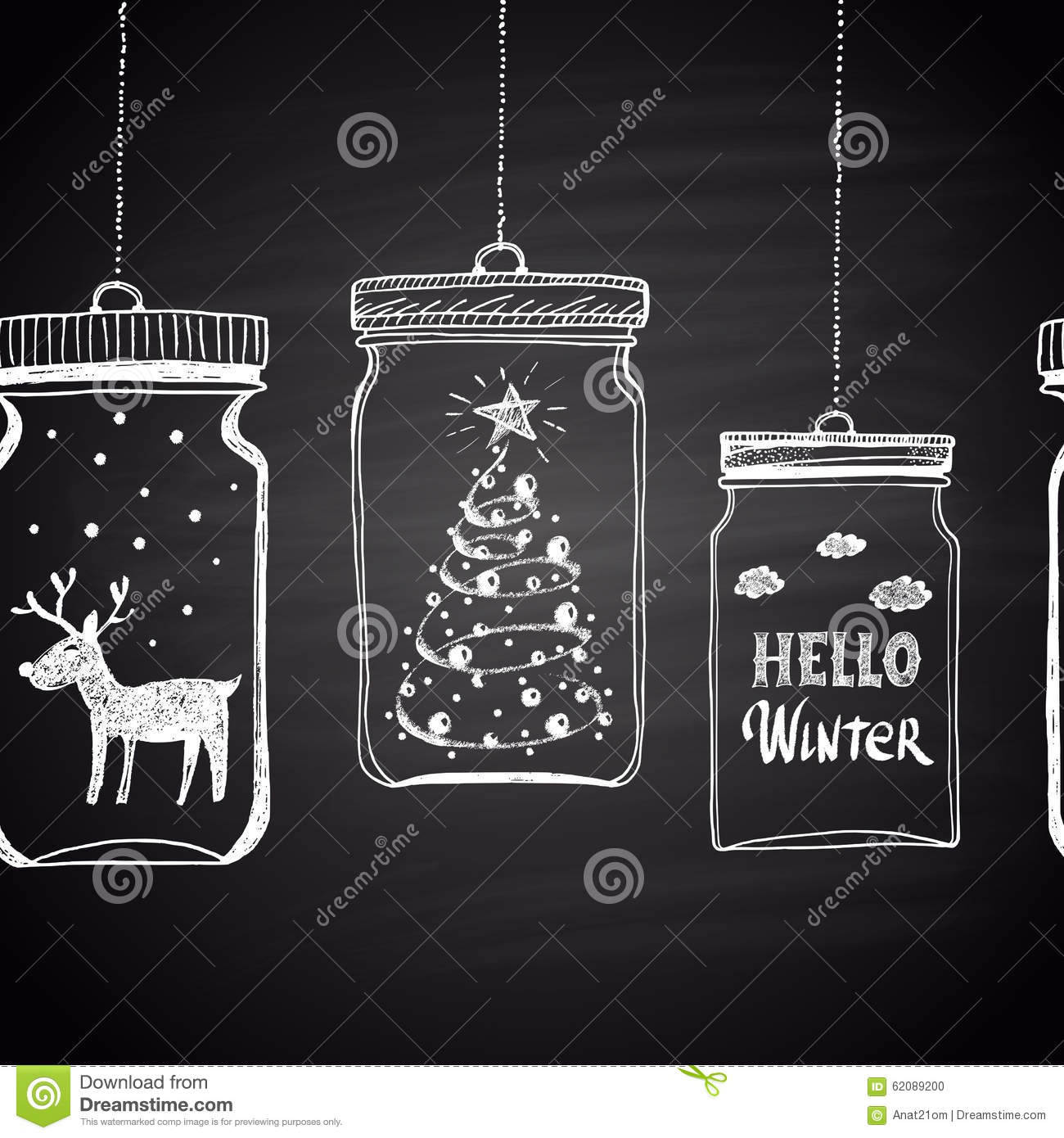 chalk drawn white horizontal border with christmas tree clouds text snow and deer in a jar happy new year theme holidays collection card design