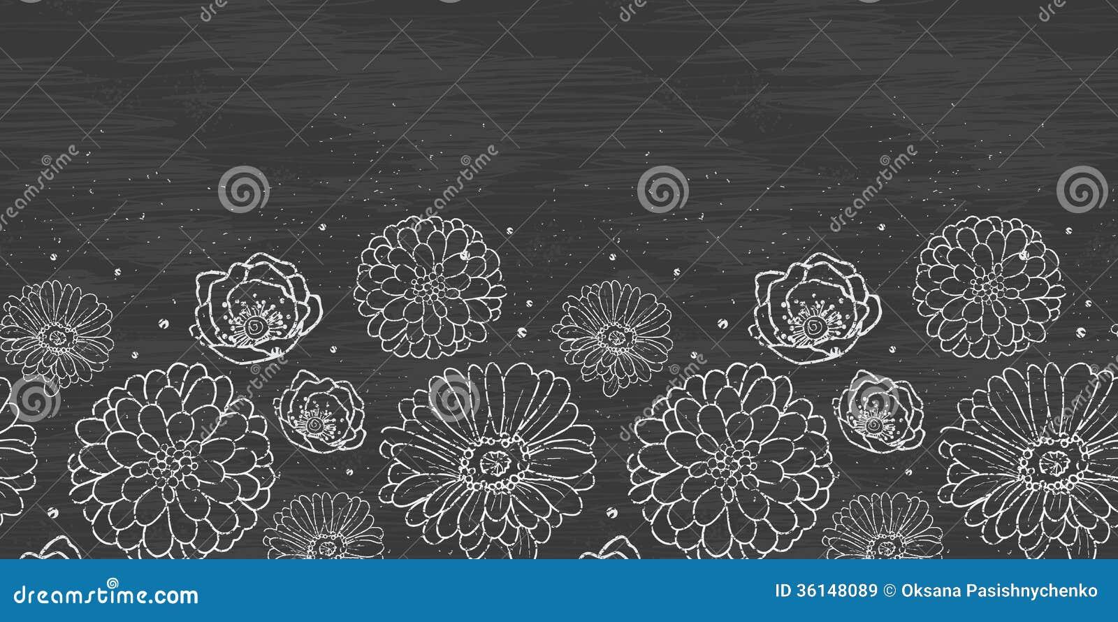 Attractive Chalk Flowers Blackboard Horizontal Border