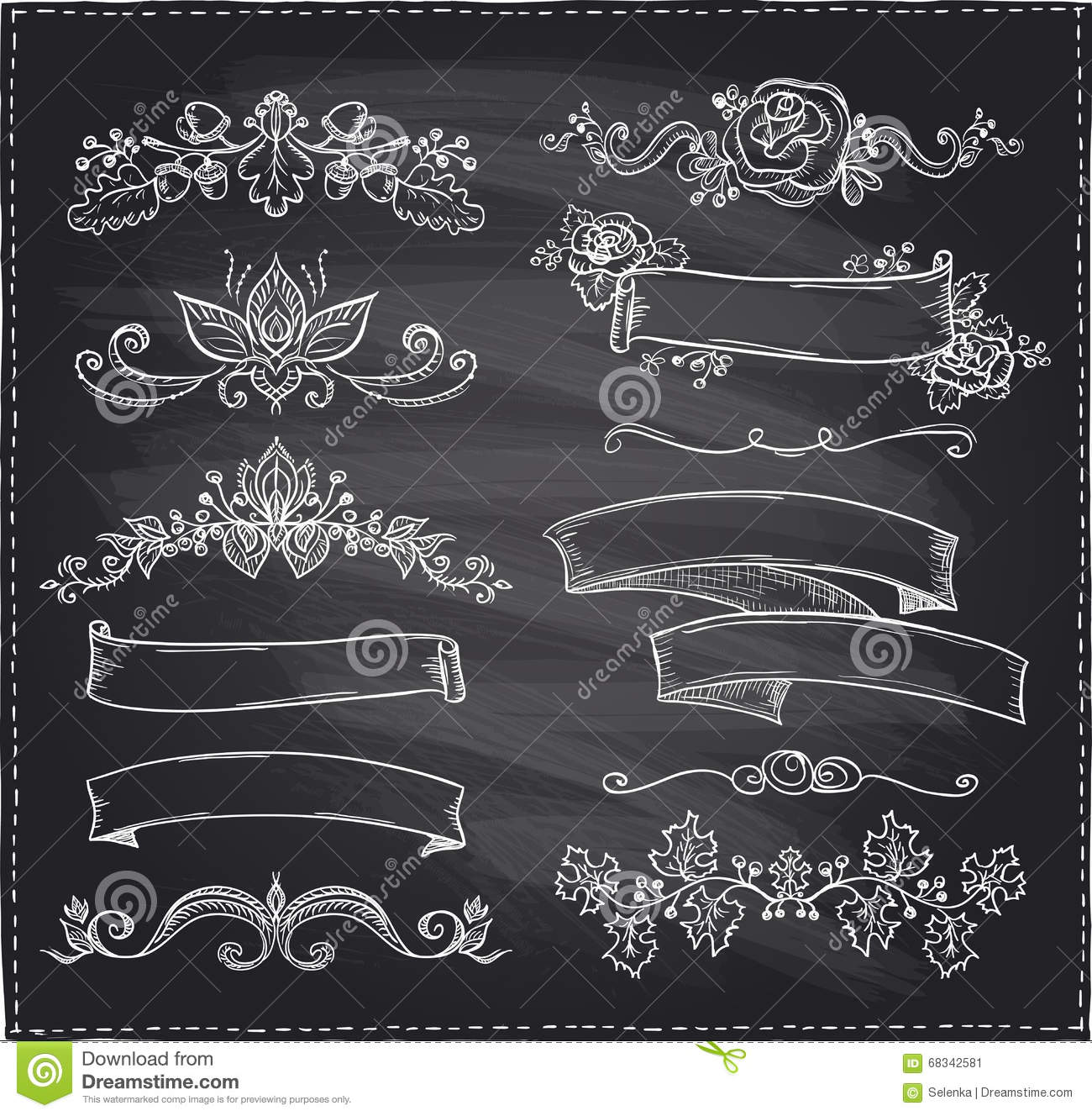 chalk graphic line elements  love and wedding theme  vintage style ribbons stock vector