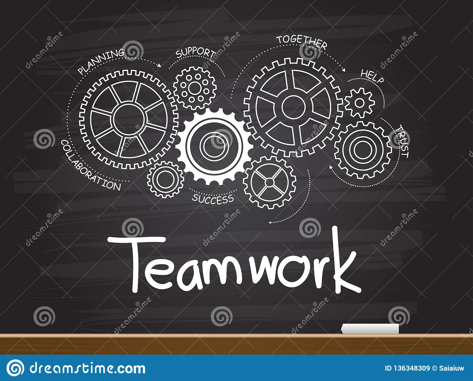 Chalk hand drawing with gear and teamwork word. Vector illustration