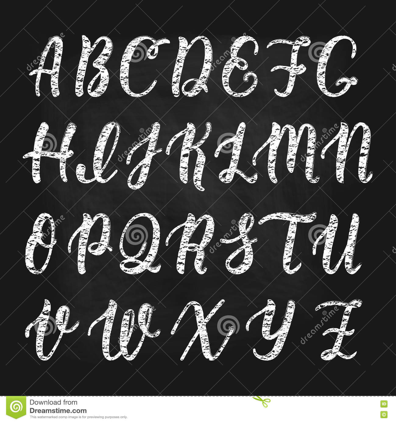 Chalk Hand Drawn Latin Calligraphy Brush Script Of Capital Letters Calligraphic Alphabet Vector Royalty