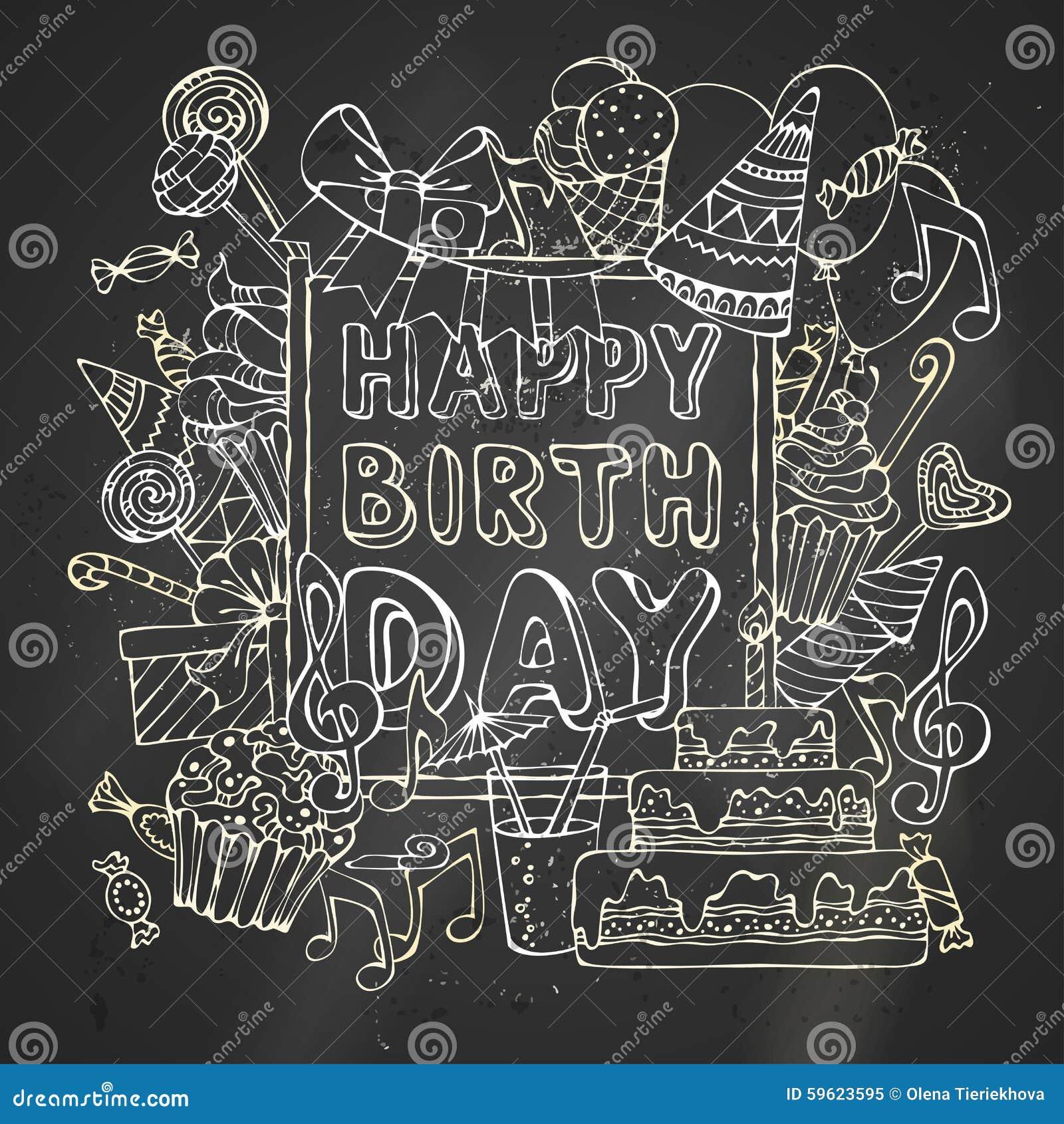 Chalk Happy Birthday Card