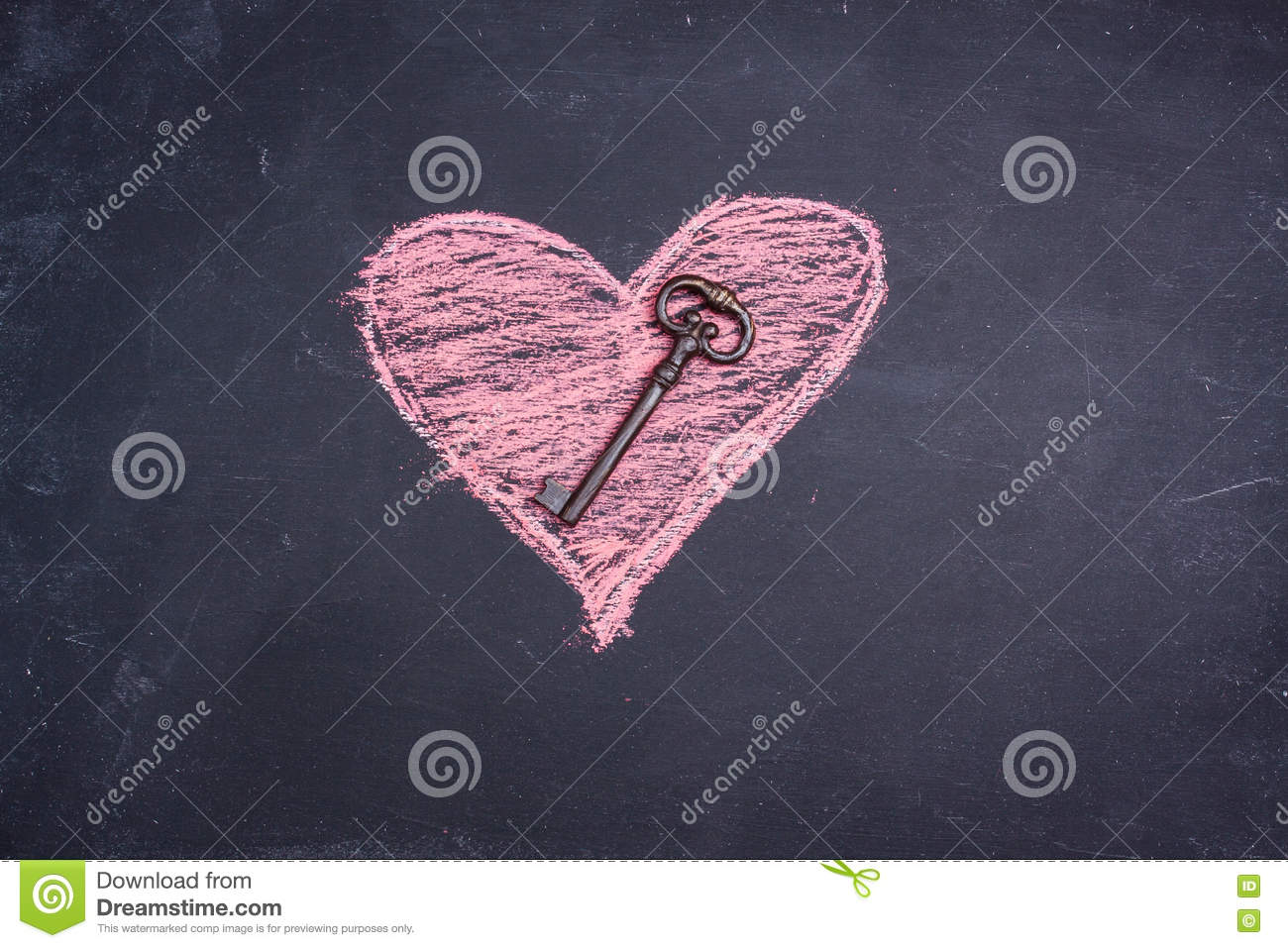 Chalk heart drawing and key
